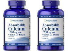 2 BOTTLE ABSORABLE CALCIUM 1200 mg W/ VITAMIN D3 1000 1U SUPPLEMENT 200 SOFTGELS