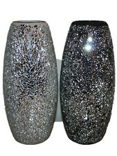 Large Crackle Silver Glitter Sparkled Mosaic Glass vase