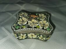 Beautiful Metal Frog Trinket Box With Sparkling Crystals / Flowers