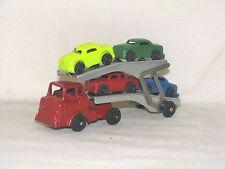 VINTAGE BARCLAY TRANSPORT CAR HAULER, RED CAB, 1970, MODERN SERIES, SLUSH LEAD