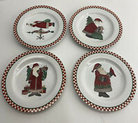"Sakura Debbie Mumm ""Magic Of Santa"" Christmas Salad/dessert Plates Set Of 4"