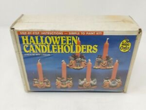 Vtg Wee Crafts Accents Unlimited Halloween 6pc HALLOWEEN CANDLE HOLDERS #21004