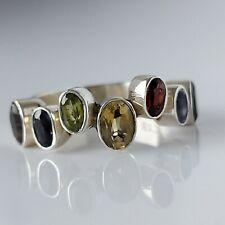 Fine Beautiful Chunky Sterling Silver & Multi Gemstone Statement Ring UK Size P