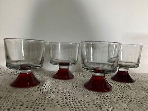 Vintage Dessert Bowls, Sherbet, Ice Cream Bowls, Set Of 4 Ruby Red  Base