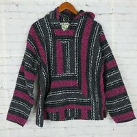 Baja Joe Mens Pull Over Hoodie Poncho Woven Surfer Eco Friendly Multicolor Red M