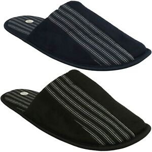 X2R118 SPOT ON MENS SLIP ON STRIPY WARM INDOOR LOUNGE MULES HOUSE SLIPPERS SIZE
