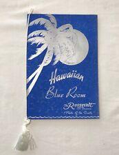 Hawaiian Blue Room the Roosevelt Menu New Orleans Signed Bill Bardo Band Leader