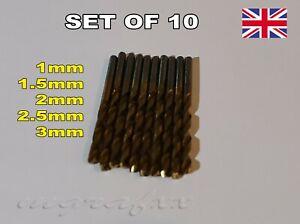 Accessories for Dremel HSS Drill Bits Set of 10 choose 1mm-1.5mm-2mm-2.5mm-3mm