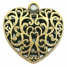 ONE PEWTER ANTIQUED BRONZE LEAD FREE FILIGREE HEART PENDANT CF818