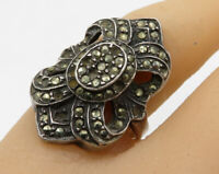 925 Sterling Silver - Vintage Marcasite Cluster Cocktail Ring Sz 7 - R2124