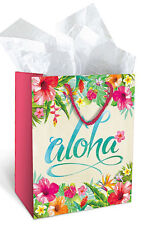 Gift Paper Medium Tote Bags Aloha Hawaiian Leis Tropical Flower Holiday Wrapping