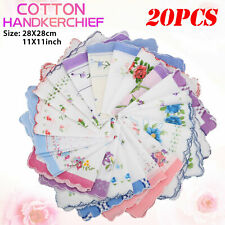 20pcs Women Vintage Floral Flowers Handkerchief Cotton Square Hanky Ladies Decor