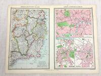 1909 Antique Map of Dublin London Edinburgh City Street Plan Chart George Philip