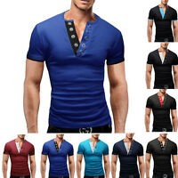 Mens T-Shirt Short Sleeve V-Neck Solid Casual Slim Fit T-shirts Cotton Tops New