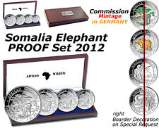 Somalia Elephant 4 Coin PROOF SET 2012 Commission Mintage GERMANY COA #77/2000