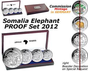 Somalia Elephant 4 Coin Silver PROOF SET 2012 Commission Mint. GERMANY COA #77