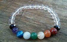 """Clear Quartz Gemstone 7 Chakra Healing 7.5"""" 8mm Stretch Bracelet Reiki Beads"""