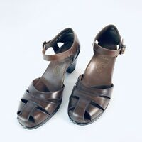 Dansko womens sz 7/37 brown Mary Jane Ankle Strap Dress Comfort Sandal heels