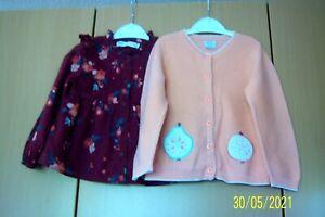 GIRLS BUNDLE AGE 2 - 3 M & S CLARET FLORAL DRESS & MAMAS & PAPAS PEACH CARDIGAN