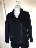 Banana Republic Womens size 8 Navy Blue Quilted jacket Zip up Front Fall Winter