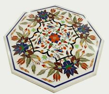 Marble Side Table Pietra Dura Art Coffee Table with Intricate Work Home Assents