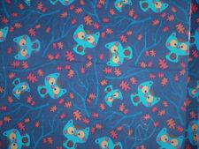 """Owls On Dark Blue Small Corduroy Fabric Sold Bthy X 43"""""""