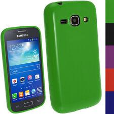 Grün TPU Gel Case Tasche Hülle für Samsung Galaxy Ace 3 S7275 + Schutzfolie
