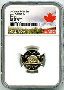 2021 O CANADA 5 CENT NICKEL NGC MS69 DPL FIRST RELEASES DEEP PROOF LIKE