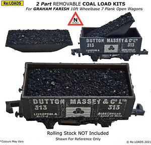 COAL / COKE 2-Part Load KITS for N Gauge GRAHAM FARISH 7 Plank 10ft Open Wagons