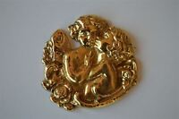 Beautiful brass kissing fairies furniture mount mirror ormalu box cartouche 2023