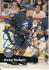 1991 DOUG BODGER #8 Buffalo Sabres Autographed Signed NHL Pro Set Card 19 FRENCH