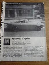VOLVO 1800E ROAD TEST MOTOR AUGUST 1970 jm
