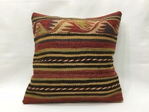 Cushion Cover VintageTurkish Rug Pillow Cover Hand Woven Bohemian 16''x16''