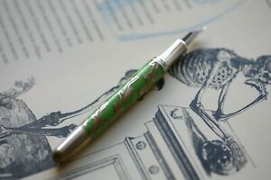 Chopard solid sterling silver 925 fountain pen, hot enamel, 18k nib, new, boxed