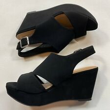 New In Box Bamboo Size 8.5 Range Soft Faux Suede Slingback Platform Wedge Sandal