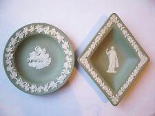 (2) WEDGWOOD 1955, 1956 Jasperware Green Dishes [Diamond, Round]-AWESOME! L@@K!