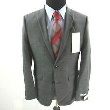 $425 Bar III Slim Fit Windowpane Sharkskin Suit Jacket Mens 36S 36 Gray NEW