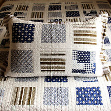 Patchwork Look Printed Cotton Quilted Bedspread in Blue White Colour Queen NEW