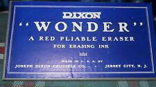 "DIXON :""WONDER"" box of erasers #1140, 12 VINTAGE Red Pliable-erasing ink, N O S"