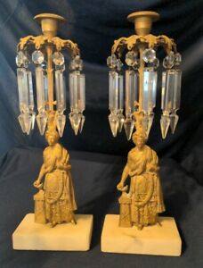Pair Antique American Girandoles Middle Eastern Man Candlestick Holders