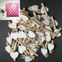 WO_ 50PCS WOODEN CLIPS WHITE HEART MINI PEGS CLOTHESPIN DIY CUTE WEDDING DECOR C