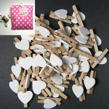 50PCS WOODEN CLIPS WHITE HEART MINI PEGS CLOTHESPIN DIY CUTE WEDDING DECOR CRAFT