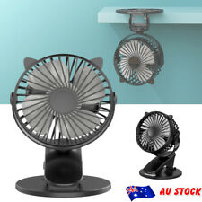 Portable Mini Fan Travel Rechargeable USB Clip on Desk 360° Rotary With 3 Speed