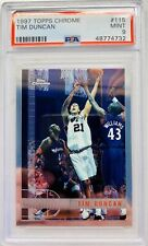 1997 Topps Chrome Tim Duncan PSA Mint 9 #115 RC Rookie Spurs HOF