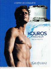 PUBLICITE ADVERTISING 026  1995  Yves Saint-Laurent  eau toilette homme Kouros