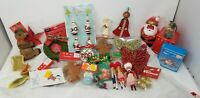 mixed lot of 34 vintage and new christmas ornaments and decorations, santa