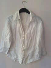 Ladies white linen blouse with embroidery detail size 12-14 (no labels)