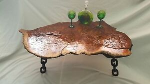 A Unique Stunning Rare Burr Solid Brown Oak Live Edge Coffee Table