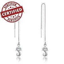 Solid 925 Sterling Silver Little Fox Ear Thread Ear String 8cm Nickel Free
