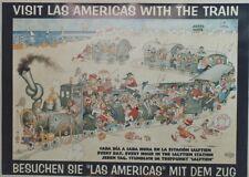 """""""VISIT LAS AMERICAS WITH THE TRAIN"""" Affiche originale entoilée DUBOUT 70x51cm"""